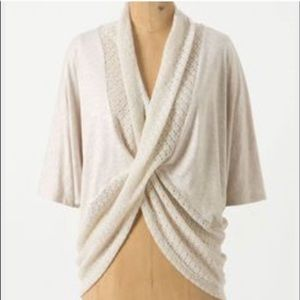 Anthropologie cream knit pullover sweater size L